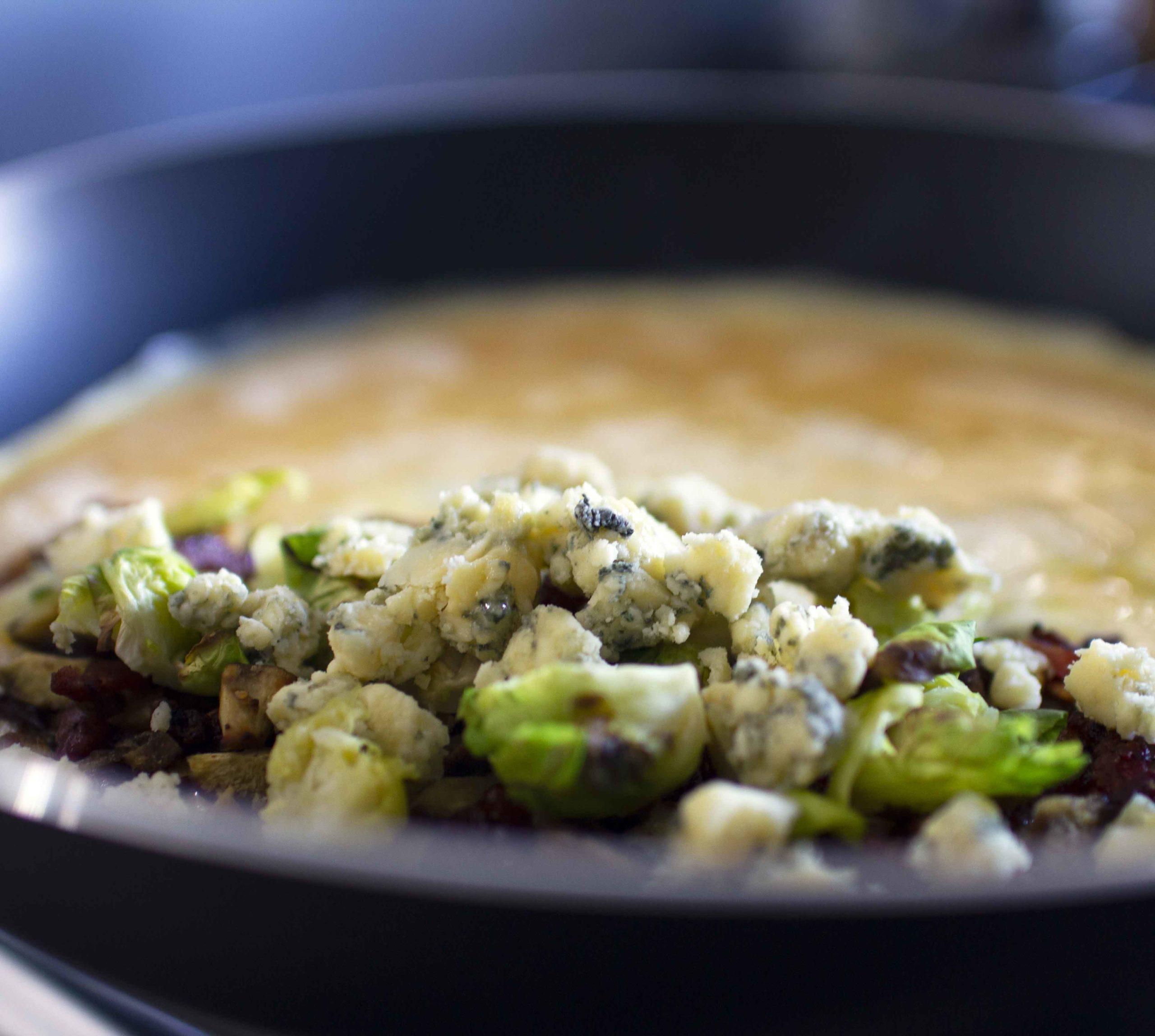 Dorset Blue Vinny, Chestnut, Lardons & Brussels Sprouts Omelette